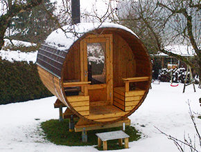 Holz oval rund Tonnensauna Holz Saunafass Fass-sauna Saunafässer aus Holz Sauneco