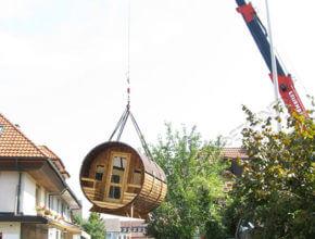 Holz Tonnensauna transport bestellen Saunafass Fasssauna Sauneco