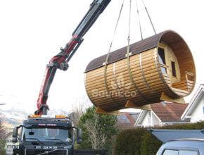 Tonnensauna Transport Fasssauna Saunafässer aus Holz Sauneco