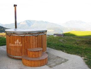 Holz oval Badetonne Badezuber Badefass Badebottich aus Holz Sauneco