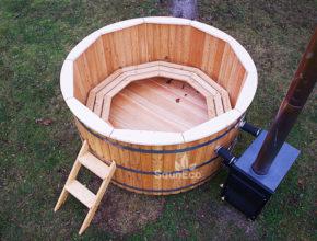 Lärche Holz Badetonne Tonnensauna Holz Saunafässer Badezuber aus Holz Badebottich Sauneco