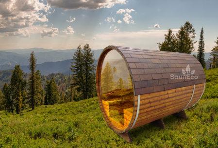 Panorama Tonnensauna aus Holz Saunafass Fasssauna aus Thermoholz Sauneco