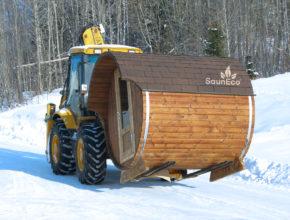 Saunafass aus Holz Tonnensauna Saunafässer Sauneco