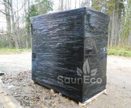 Holz Grillhaus Gartenhaus Badetonne transport aus Holz  Sauneco