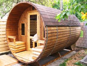 Holz Tonnensauna transport bestellen Saunafass Fasssauna Saunahaus bestellen