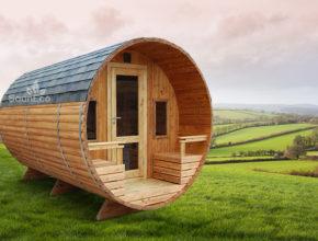 Holz oval Tonnensauna Saunafass Fass-sauna aus Holz Sauneco