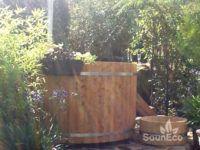 Holz Badetonne transport Badezuber Badefass aus Holz transport Sauneco